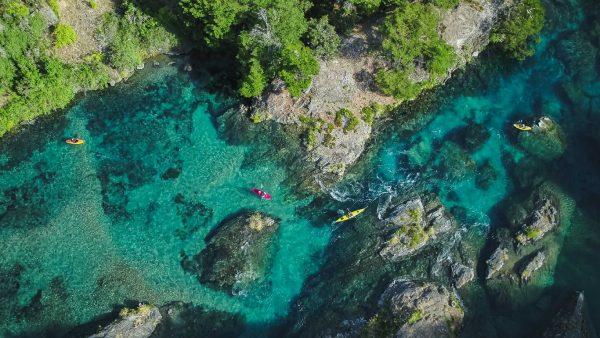 Río Imagen aérea de Río Cochrane en Aysén