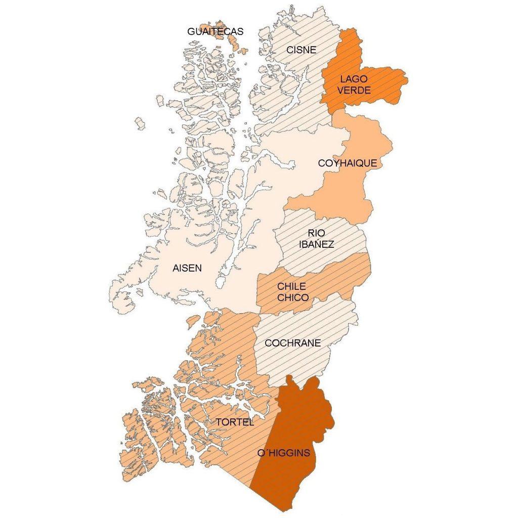 Mapa municipalidades Aysén